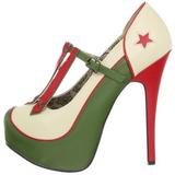 Zielony Beżowe 14,5 cm Burlesque TEEZE-43 buty damskie na wysokim obcasie