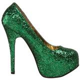 Zielony Glitter 14,5 cm Burlesque BORDELLO TEEZE-06G Szpilki na wysokim obcasie