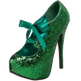 Zielony Glitter 14,5 cm Burlesque TEEZE-10G Platformie Szpilki Buty