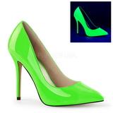 Zielony Neon 13 cm AMUSE-20 Szpilki Damskie Stiletto Obcasy