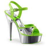 Zielony Neon 15 cm DELIGHT-609NC Sandały na wysokim obcasie Chrom