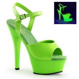 Zielony Neon 15 cm Pleaser KISS-209UV Wysokie obcasy platformie