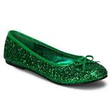 Zielony STAR-16G Glitter Płaskie Baleriny Buty Damskie