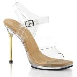 Złoto 11,5 cm CHIC-08 Sandały na cienkim obcasie