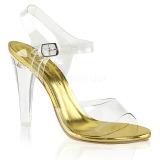 Złoto 11,5 cm CLEARLY-408 Sandały wieczorowe z piętą