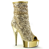 Złoto 15 cm DELIGHT-1008SQ botki z cekinami na wysokim obcasie