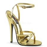 Złoto 15 cm Devious DOMINA-108 Wysokie sandały na szpilce
