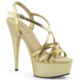Złoto 15 cm Pleaser DELIGHT-613 Sandały na wysokim obcasie
