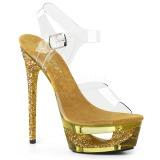 Złoto 16,5 cm ECLIPSE-608GT Sandały na cienkim obcasie