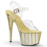 Złoto 18 cm ADORE-708VLRS platformy buty na wysokiej z kryształkami