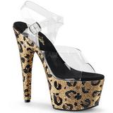 Złoto 18 cm BEJEWELED-708LP buty damskie na Błyszczącymi Kamieniami