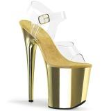 Złoto 20 cm KISS-209 Chrom wysokie obcasy na platformie