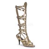 Złoto 9 cm GODDESS-12 sandały gladiatorki do kolan damskie