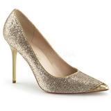Złoto Glitter 10 cm CLASSIQUE-20 szpilki ze szpicem wysokie obcasy