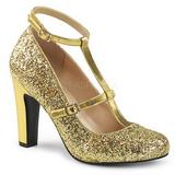 Złoto Glitter 10 cm QUEEN-01 duże rozmiary szpilki buty