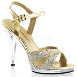 Złoto Glitter 12 cm FLAIR-419G Sandały damskie na obcasie