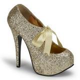 Złoto Glitter 14,5 cm Burlesque TEEZE-10G Platformie Szpilki Buty