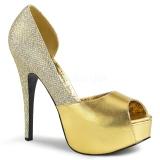 Złoto Glitter 14,5 cm Burlesque TEEZE-41W szpilki na szeroką stopę dla męskie