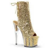 Złoto Glitter 18 cm ADORE-1018G botki z platformy wysokim obcasie