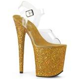 Złoto Glitter 20 cm FLAMINGO-808LG Sandały na wysokim obcasie