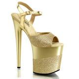 Złoto Glitter 20 cm Pleaser FLAMINGO-809-2G wysokie obcasy na platformie