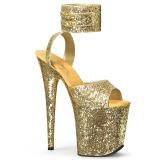 Złoto Glitter 20 cm Pleaser FLAMINGO-891LG wysokie obcasy na platformie