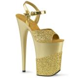 Złoto Glitter 23 cm INFINITY-909-2G wysokie obcasy na platformie