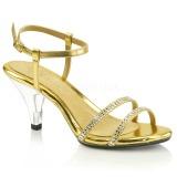 Złoto Glitter 8 cm BELLE-316 Sandały damskie na obcasie