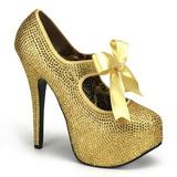 Złoto Kamieniami 14,5 cm Burlesque TEEZE-04R platformy szpilki damskie