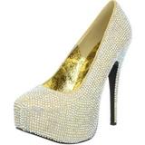 Złoto Kamieńiami 14,5 cm TEEZE-06R czółenka na wysokim obcasie