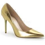 Złoto Matowy 10 cm CLASSIQUE-20 szpilki ze szpicem wysokie obcasy