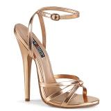 Złoto Róża 15 cm Devious DOMINA-108 Wysokie sandały na szpilce