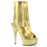 Złoto Skóra Ekologiczna 15 cm DELIGHT-1019 botki z frędzlami
