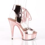 Złoto Skóra Ekologiczna 15 cm DELIGHT-600-14 pleaser sandały z platformie