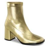 Złoto Skóra Ekologiczna 7,5 cm GOGO-150 botki na grubym obcasie stretch