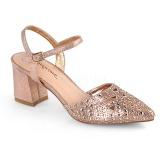 Złoto blasku 7 cm Fabulicious FAYE-06 sandały na obcasie