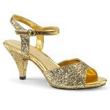 Złoto blasku 8 cm Fabulicious BELLE-309G sandały na obcasie