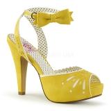 Żółty 11,5 cm Pinup retro vintage BETTIE-01 sandały na obcasie