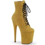Żółty faux suede 20 cm FLAMINGO-1020FS botki do tańca pole dance