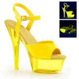 Żółty Neon 15 cm Pleaser KISS-209UVT Wysokie obcasy platformie