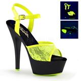 Żółty tkaniny koronki 15 cm KISS-209ML Sandały na wysokim obcasie Neon