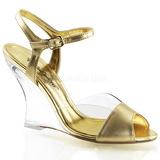 Złoto 10,5 cm LOVELY-442 Sandały na koturnie i obcasie