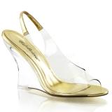 Złoto 10,5 cm LOVELY-450 Sandały na koturnie i obcasie
