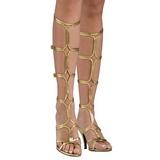 Złoto 8 cm ROMAN-10 sandały gladiatorki do kolan damskie