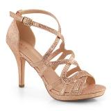 Złoto 9,5 cm DAPHNE-42 Sandały na cienkim obcasie