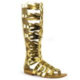 Złoto ATHENA-200 sandały gladiatorki do kolan damskie