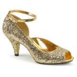 Złoto Blasku 7,5 cm BELLE-381G buty czółenka peep toe na obcasie