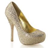 Złoto Błyszczące Kamieńie 13,5 cm FELICITY-20 buty damskie na obcasie