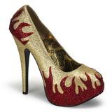 Złoto Błyszczące Kamieńie 14,5 cm TEEZE-27 buty damskie na obcasie