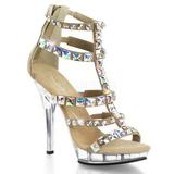 Złoto Kamieńiami 13 cm LIP-158 Platformie buty high heels
